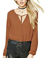 Damen Solide Einfach Street Schick Ausgehen Lässig/Alltäglich Übergröße T-shirt,Rundhalsausschnitt Frühling Herbst Langarm Polyester