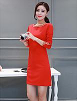 unterzeichnen 2017 neue Federn langen Abschnitt der weiblichen großer rote Tasche Hüfte Damen mit langen Ärmeln Kleid Kleid grundiert