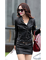 Women's Casual/Daily Club Sexy Spring Fall Leather Jacket,Solid Stand Long Sleeve Short Others