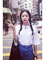 Damen Solide Einfach Lässig/Alltäglich T-shirt,Rundhalsausschnitt Kurzarm Baumwolle