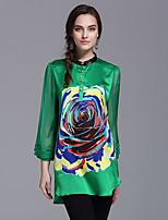 YHSPWomen's Going out Beach Holiday Simple Spring BlousePrint Stand  Sleeve Polyester Medium