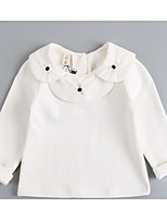 Casual/Daily Solid Blouse,Cotton Spring Fall Long Sleeve Regular