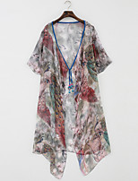 Women's Casual/Daily Vintage Blouse,Floral V Neck Long Sleeve Polyester Thin