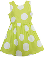 Girls Dress Yellow Dot Dresses Summer Party Birthday Casual Children Clothes