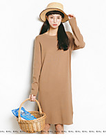 Women's Casual/Daily Cute Regular Pullover,Solid Round Neck Long Sleeve Wool Spring Medium Micro-elastic