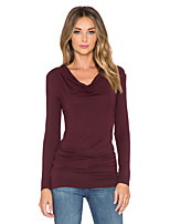 Heave collar long-sleeved T-shirt knotted side has shelves