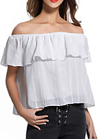 Women's Casual/Daily Sexy Simple Shirt,Solid Off Shoulder Short Sleeve Polyester