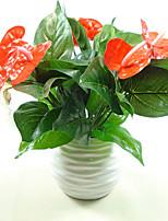 1 Ramo Plástico Couro Ecológico Plantas Flor de Mesa Flores artificiais 20*32