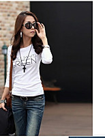 Women's Casual/Daily Simple T-shirt,Letter Round Neck Long Sleeve Cotton