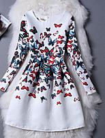 Девичий Платье Хлопок Животные принты Однотонный Цветочный принт Весна Длинный рукав