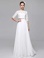 LAN TING BRIDE A-line Wedding Dress Two-Piece Floor-length Bateau Chiffon Lace with Appliques Draped