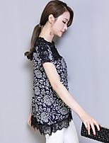 Sign 2017 summer new large size women's Korean version was thin short-sleeved shirt retro print chiffon shirt