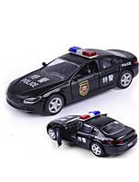 Police car Pull Back Vehicles 1:32 Plastic Black White