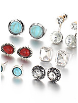 Stud Earrings Euramerican Vintage Resin Alloy Geometric Jewelry For Daily 1set