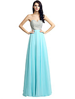 Formal Evening Dress Sheath / Column Sweetheart Floor-length Chiffon with Beading