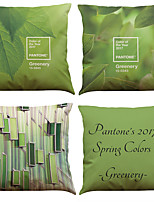 Set of 4 Matcha Green Pattern  Linen Pillowcase Sofa Home Decor Cushion Cover