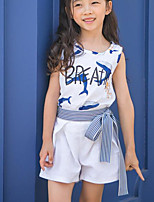Girl Casual/Daily Floral Sets,Rayon Summer Short Sleeve Clothing Set