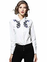 Feminino Camisa Social Casual Trabalho Temática Asiática Primavera Verão,Bordado Algodão Colarinho de Camisa Manga Longa Média