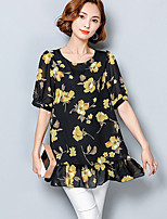 Для женщин На каждый день Большие размеры Лето Блуза Круглый вырез,Простое С принтом С короткими рукавами,Искусственный шёлк Полиэстер,