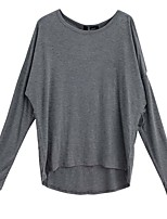 Women's Going out Sexy Spring Summer T-shirt,Solid Round Neck Long Sleeve Cotton Medium