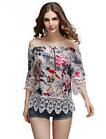 Women's Casual/Daily Simple Summer T-shirt,Floral Boat Neck ¾ Sleeve Polyester Medium