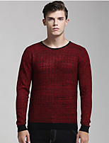 Herren Standard Pullover-Lässig/Alltäglich Solide Rundhalsausschnitt Langarm Nylon Herbst Winter Mittel Mikro-elastisch