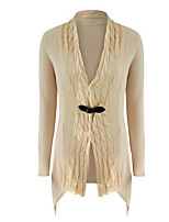 Women's Casual/Daily Long Cardigan,Solid Round Neck Long Sleeve Others All Seasons Medium Stretchy