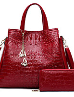 Women Bag Sets PU All Seasons Formal Casual Event/Party Wedding Office & Career Barrel Zipper Ruby Black White Blue