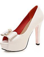 Mujer-Tacón Robusto-Zapatos del club-Tacones-Oficina y Trabajo Fiesta y Noche Vestido-PU-Blanco Negro Rosa