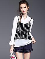 Для женщин На выход На каждый день Весна Осень Блуза V-образный вырез,Секси Очаровательный Однотонный Длинный рукав,Полиэстер