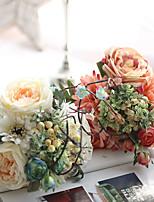 1 Ramo Poliéster Plástico Rosas Flor de Mesa Flores artificiais 11*9