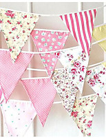 New 2.1-2.3M 3 Color Flags Fabric Bunting Personality Wedding Birthday Party Decoration Vintage Baby Decor Banner