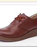 נשים-נעליים ללא שרוכים-PU-נוחות-שחור חום-יומיומי-עקב שטוח