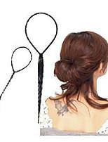 2 pcs /Sets Of Ponytail Hair Braider Creator Plastic Loop Styling Tools Black Topsy Tail Clip Hair Braid Styling Tool