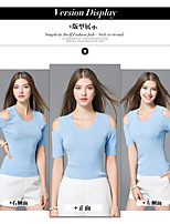 Women's Going out Casual/Daily Sexy Summer T-shirt,Solid Round Neck Short Sleeve Polyester Nylon Thin