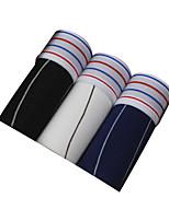 3 Pcs/Lot Men's Fashion Sexy Striped Printed Boxers Underwear Cotton Soft Panties