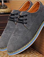 Masculino-Oxfords-ConfortoPreto Cinzento Azul-Couro-Escritório & Trabalho Casual