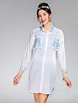 Для женщин На каждый день лето осень Пальто Рубашечный воротник,просто Однотонный Обычная Длинный рукав,Others