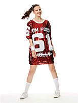 Fantasias para Cheerleader Vestidos Mulheres Actuação Lantejoulas 1 Peça Manga Curta Vestido