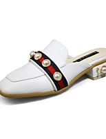 Women's Sandals Spring Summer Comfort Microfibre Dress Chunky Heel Block Heel Jewelry Heel White Black