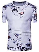 Tee-shirt Homme,Géométrique Décontracté / Quotidien Chic de Rue Manches Courtes Col Arrondi Polyester