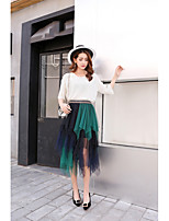 Women's Mid Rise Casual/Daily Club Asymmetrical Skirts Swing Color Block Summer