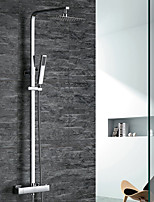 Contemporary Art Deco/Retro Modern Shower System Thermostatic Rain Shower Handshower Included with  Brass Valve Two Handles Two Holesfor
