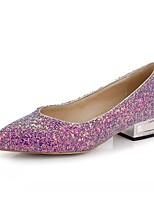 Лиловый Синий Розовый-Для женщин-Для праздника Повседневный Для вечеринки / ужина-Дерматин-На низком каблуке-Удобная обувь-Обувь на