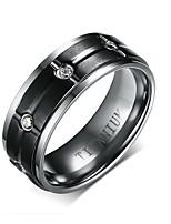 Modyle Mens Jewelry Black Rhinestone Rings Titanium Stainless Steel Wedding Ring Fashion Engagement Ring Hot Sale