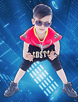 Boy's Cotton Fashion Pure Cotton Round  Lettering Printing Short Sleeve Harlan Shorts Street Dance Two-Piece Outfit