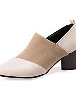 Feminino-Saltos-Sapatos clube-Salto Grosso-Preto Cinzento Amêndoa-Couro Ecológico-Escritório & Trabalho Festas & Noite Social