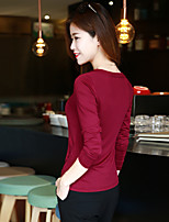 Women's Casual/Daily Simple Summer T-shirt,Solid V Neck Long Sleeve Cotton Thin