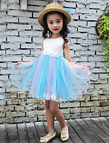 Girl's Cotton Fashionable Sweet Embroidered Shallow Splicing Fairy Costumes Dance Skirt Bitter Vleabane Bitter Fleabane Princess Dress