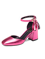 Серебряный Пурпурный Зеленый-Для женщин-Свадьба Для праздника Для вечеринки / ужина-Кожа-На толстом каблуке-Удобная обувь С ремешком на